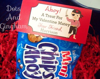 Printable Valentine Pirate Treat Bag Topper-Valentine Boy Topper-Printable Kids Valentine-Pirate Treat Bag Topper-Printable Valentine Pirate