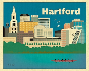 Hartford 8x10 Skyline Print, Hartford Wall Art, Hartford Map, Connecticut Poster, Hartford baby print, Loose Petals Art, style E8-O-HAR