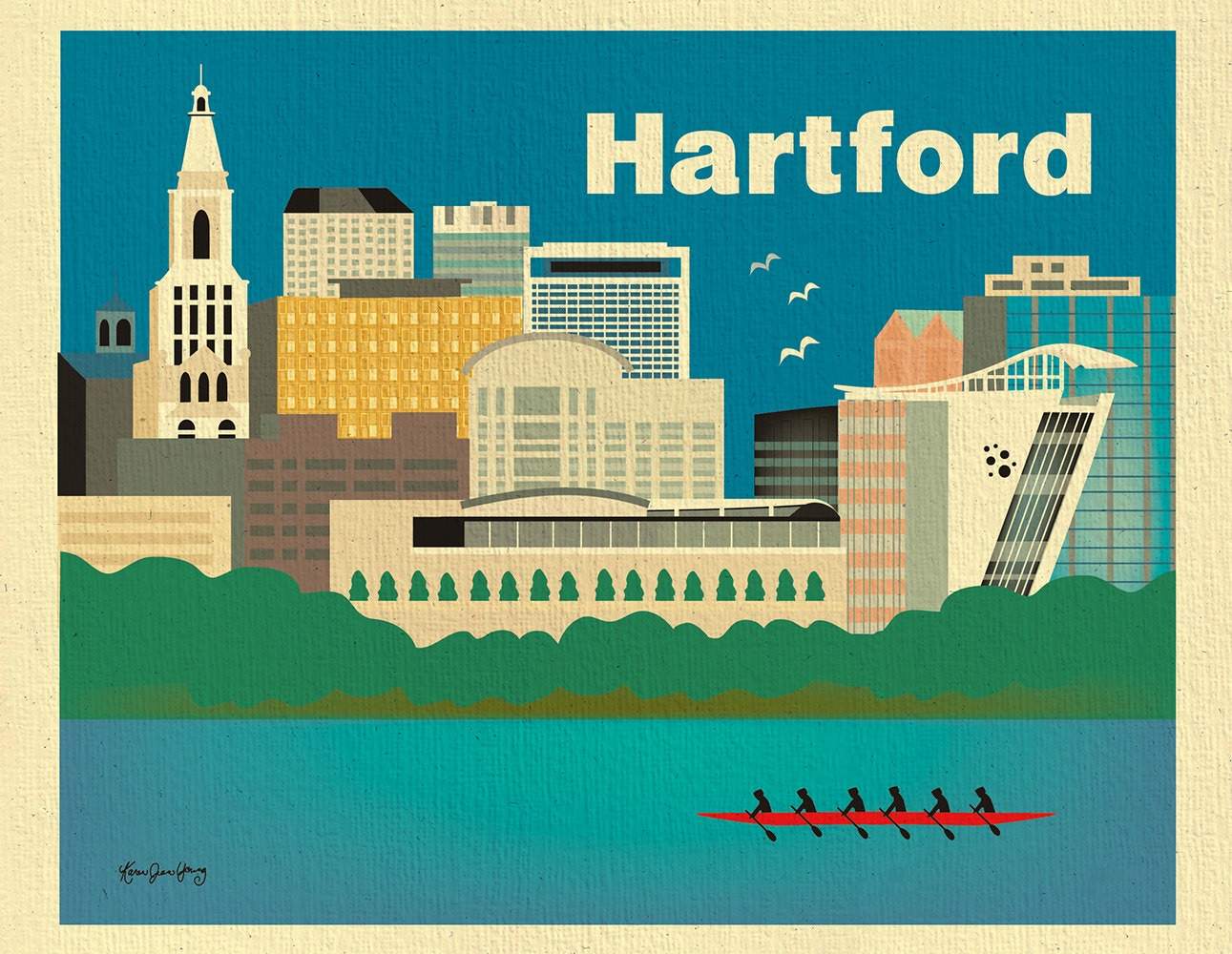 Hartford 8x10 Skyline Print Hartford Wall Art Hartford Map