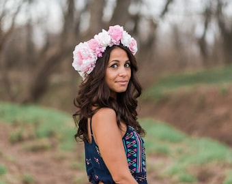Extravagant Baby Pink and White Spring Avant Garde Floral Crown