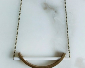 Ceramic and Brass Arc Pendant | minimal architectural modern jewelry