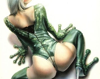 Vintage Frog Girl Pin Up Poster A3 Print