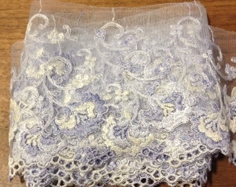 1 meter baby purple blue and off white floral embroidered mesh tulle lace trim scalloped 9cm width