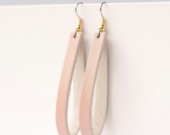 Leather Earrings / Thin Slit / Soft Blush