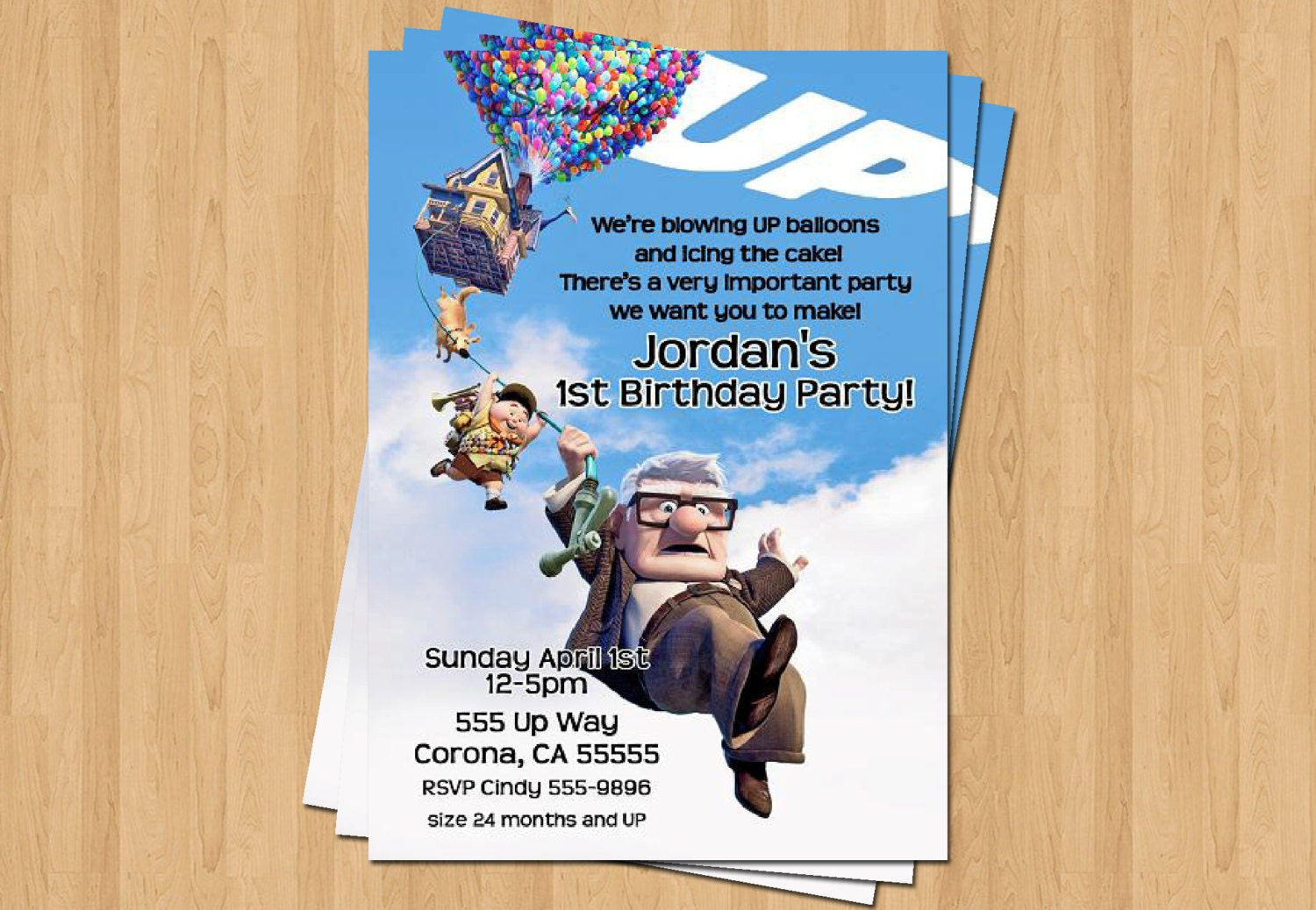 Up Pixar Movie Birthday Party Personalized Invitation .JPEG