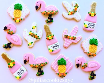 Flamingo cookies/pinaple cookies/cookies/cactus/flamingo pinaple party/favors/gold pinaple/flamingo party/pink flamingo/champagne/