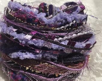 Art Fiber Bundle Grape Jelly, Embellishments, Collages, Mixed Media, Dream Catchers, Junk Journals, Scrapbooks