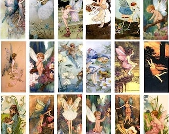 Fairy Domino No. 1 - 1x2 - Digital Collage Sheet - Instant Download
