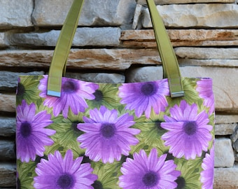 Purple and Green Floral Zippered Tote