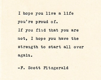 Inspirational Quote THE F. SCOTT FITZGERALD -  Quote Made On Cardstock with Vintage Typewriter