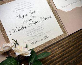 Blush Pink & Rose Gold Glitter Pocket Fold Wedding Invitation Suite - Invites - Classic Invitations