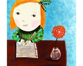 the writer ... art print... child • girl • writer • writing • author • imagination • gift • giclee • flower • redhead • pencil • portrait