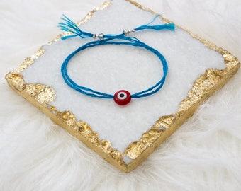 Evil Eye Simple Bracelet in Blue (Tassel Option)