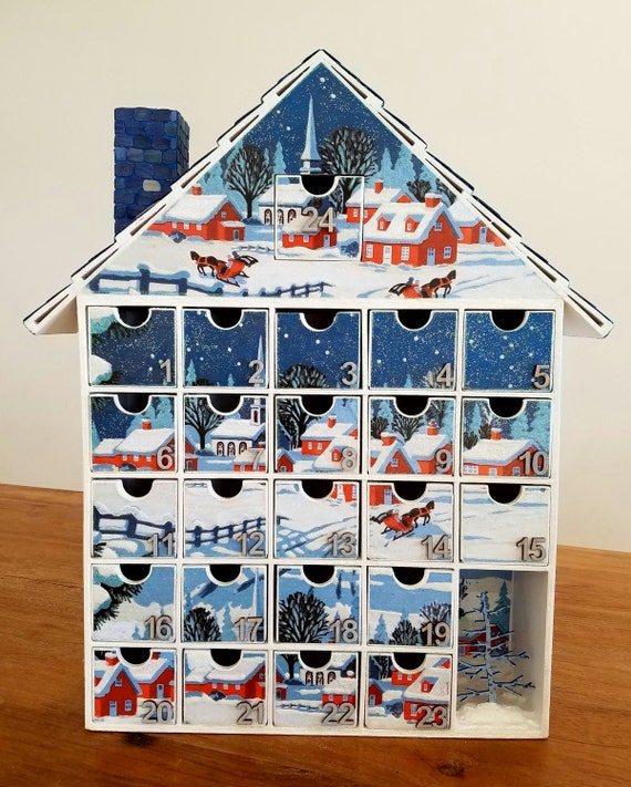 snowy village advent calendar decoupage a gift that keeps. Black Bedroom Furniture Sets. Home Design Ideas