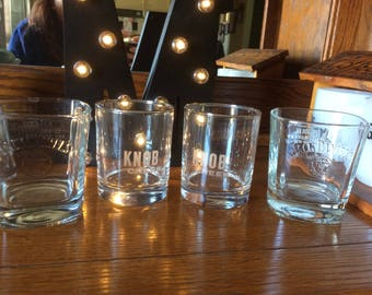 Four Liquor Glasses: Two Jack Daniels and Two Knob Creek Tumblers