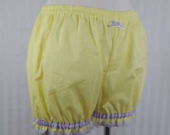 Pastel yellow plain mini sweet lolita fairy kei bloomers shorts adult woman size small-plus size