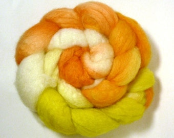 Handdyed BFL Wool/Tussah Silk Roving - Sunshine and Ice Cream - yellow, orange, gold, white