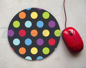 Colorful Polka Dot on Black Mouse pad, Office Mousepad, Computer Mouse Pad