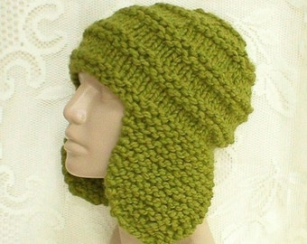 Green ear flap hat, trapper cap, beanie hat, citrus kiwi green hat, winter hat, toque, mens womens knit hat, ski hat, mens green knit hat