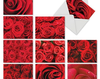 M3088VDG-B1x10 Roses Are Red: 10 Assorted Valentine's Day Note Cards Featuring Images of Rich Ruby Red Roses in Full Bloom, with Envelopes.
