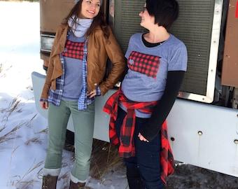 Women's South Dakota Love Flannel Tshirt- Screen Printed South Dakota Red Buffalo Check Women's T-Shirt -South Dakota Tee by Oh Geez Design