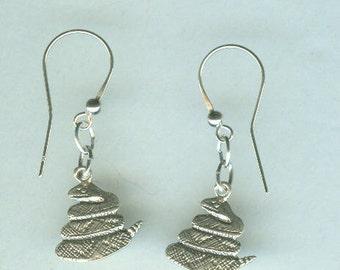 Sterling Silver RATTLE SNAKE Earrings - French Earwires - Rattler, Totem, Goth, Pet - Rattlesnake