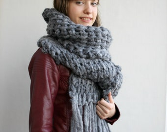 Dark Gray Wool Big Extra Long Scarf Perfect Gift Under 75 For Women For Girl Friend Valentine's day Gift
