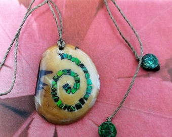 Green Spiral Necklace – Mother Earth Pendant - Pachamama - Vegetable Ivory Tagua – Ecofriendly Necklace - Valentines Necklace - Gift for Her