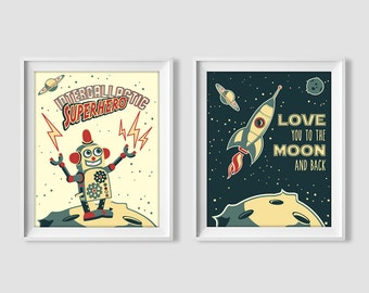 Set of wall prints, love you to the moon and back, retro rocket, robot, space, nursery decor, wall art, printable, digital print, boys room