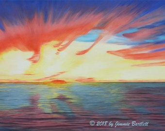 Sunrise on Matagorda Bay print of original painting