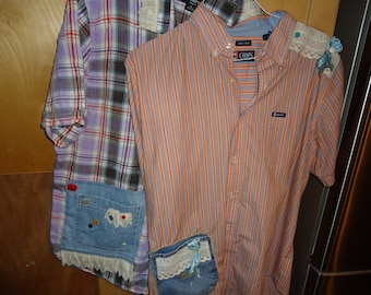 Upcycled Mens Womans Garden Shirts with lace denim buttons ribbon and more Recycled Chaps and Claiborne shirts short sleeve PICK ONE please