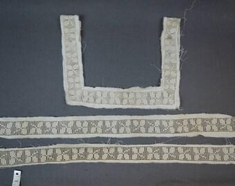Antique Handmade Crochet Trim for Lingerie, Nightgown Neckline and Lace Trim, Victorian Edwardian