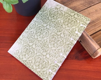 Handmade Stitched Notebook Green
