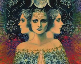 Moon Goddess of Mystery Psychedelic Tarot Art 5x7 Card Mythology Bohemian Gypsy Goddess Art