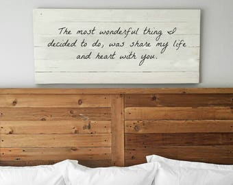 The Most Wonderful Thing Sign | Romantic Wall Art | Bedroom Wall Decor |  Extra Large