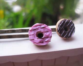 Chocolate Donut Bobby Pins _ 1/12 Dollhouse Scale Miniature Food _ Polymer Clay _ Foodie Gift _ Donut Collection