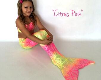 "Mermaid Tail for Swimming! W/ Monofin +Add Bikini Top! ""Citrus Pink"""