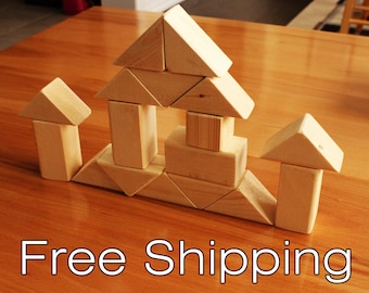 Wood blocks, wood building blocks, all natural wooden toy, Handmade Wood block set.