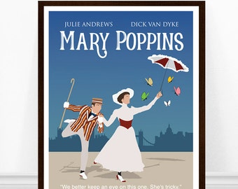 Mary Poppins Poster, Minimalist Poster, 1960s movie poster, Poster Art, Minimalist Art