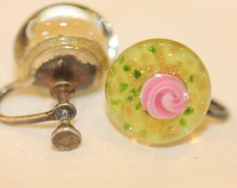 Old Vintage Murano Art Glass Roses Sterling Silver Earrings