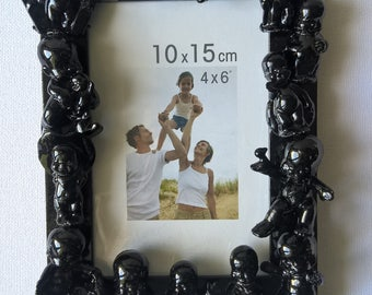Figurines, vintage, babies, baroque style picture frame