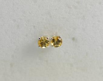 Citrine earrings silver | citrine earrings stud, 3MM, sterling Silver, Children's earring, November birthstone, citrine jewelry, studs