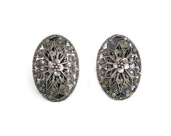 Vintage Silver Cannetille Filigree Earrings - Floral Pattern, 900 Silver, Etruscan Revival, Clip On, Vintage Earrings, Fancy Earrings
