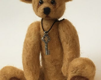 Felted Mini Artist Bear OOAK by Chicago Bear Co: Scout