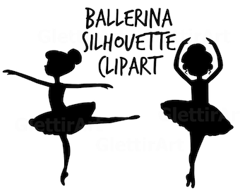 Ballerina Silhouette Clipart, Silhouette Clipart, for personal and commercial use, scrapbooking, instant download, planner stickers