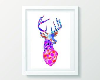 Danny Deer Giclée print, watercolour wall art, wall art print, wall decor, framed print, original artwork.