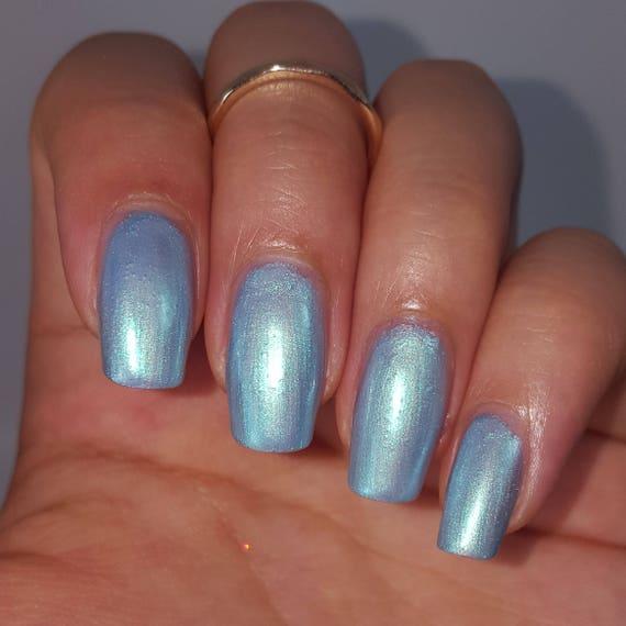 Blue PEARL IRIDESCENT Nail Polish DUO 5 Free Handmade Indie Shiny ...
