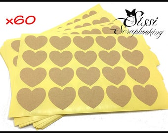 MAXI Pack 60 decals sticker heart KRAFT customizable 35 mm