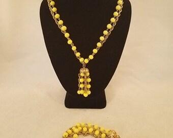 Kramer Signed Pale Yellow Necklace & Bracelet Set