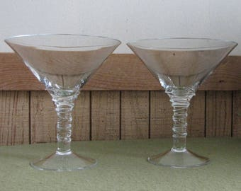 Two Martini Glasses Swirled Stemmed Bar Ware Mid Century Modern Martinis Vintage Bar and Drinkware Entertaining and Party Ware